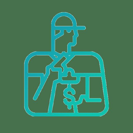 Une icone vert bleuté représentant le coaching.