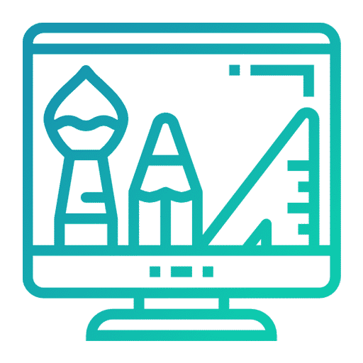 Une icone vert bleuté représentant le web design.