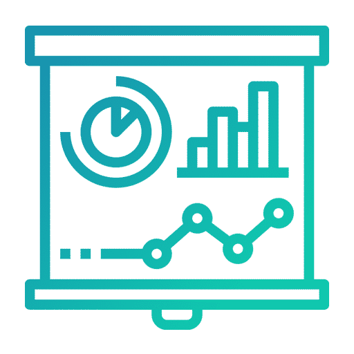 Une icone vert bleuté représentant la stratégie de communication.