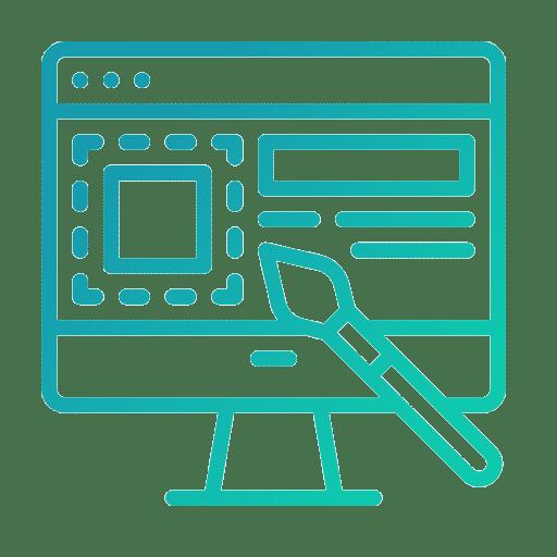 Une icone vert bleuté représentant le design graphique.
